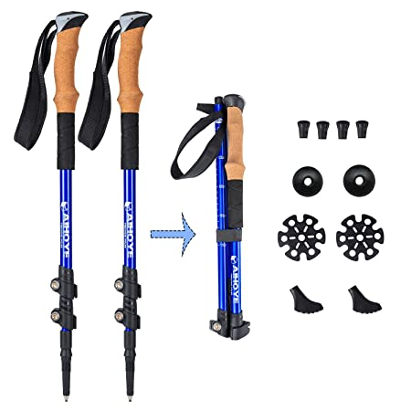 Aihoye Trekking Poles- Collapsible, Shock Absorbing, Retractable Hiking Walking Sticks with Strong and Lightweight Aluminum- 2 Pack