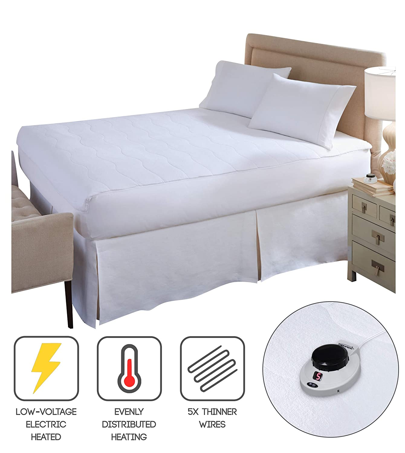 Perfect Fit SoftHeat Smart Heated Electric Mattress Pad with Safe & Warm Low Voltage Technology, Micro-Plush Top