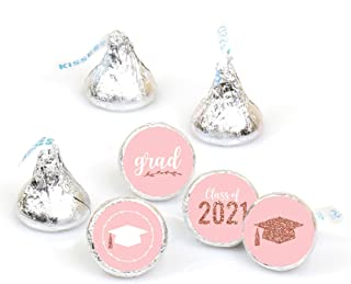 product image for Big Dot of Happiness Rose Gold Grad - 2021 Graduation Party Round Candy Sticker Favors - Labels Fit Hershey's Kisses (1 Sheet of 108)