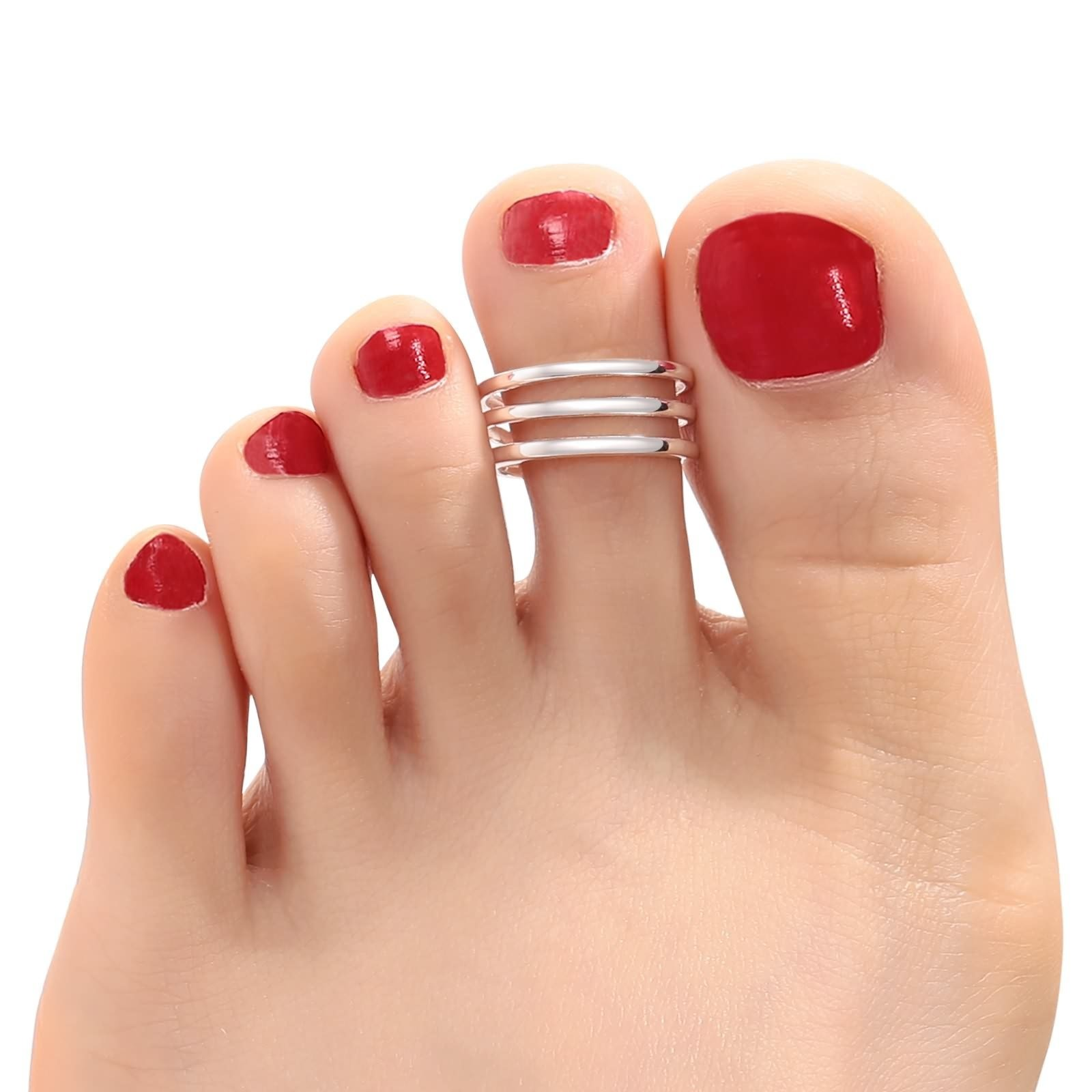 Aokarry 925 Sterling Silver Toe Rings For Women Girls Three Layers Silver