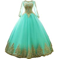 inmagicdress Women's Ball Gowns Gold Lace Appplique Dress Prom Dress