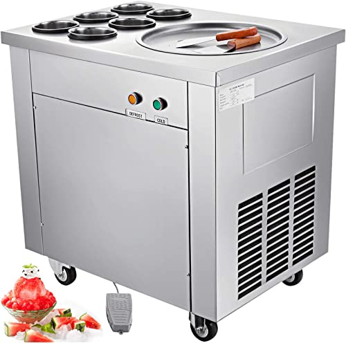 VEVOR Commercial Ice Roll Maker 740W Fried Yogurt Cream Machine 13.7 Diameter Single Pan Perfect