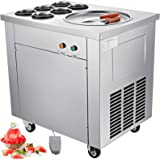 "VEVOR Commercial Ice Roll Maker 740W Fried Yogurt Cream Machine 13.7"" Diameter Single Pan Perfect for Bars/Cafes/Dessert…"