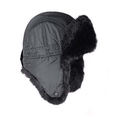 ECHT FELL MÜTZE HUT KANINCHEN FELL KAPPE PELZ NEU  grau Braun schwarz warm