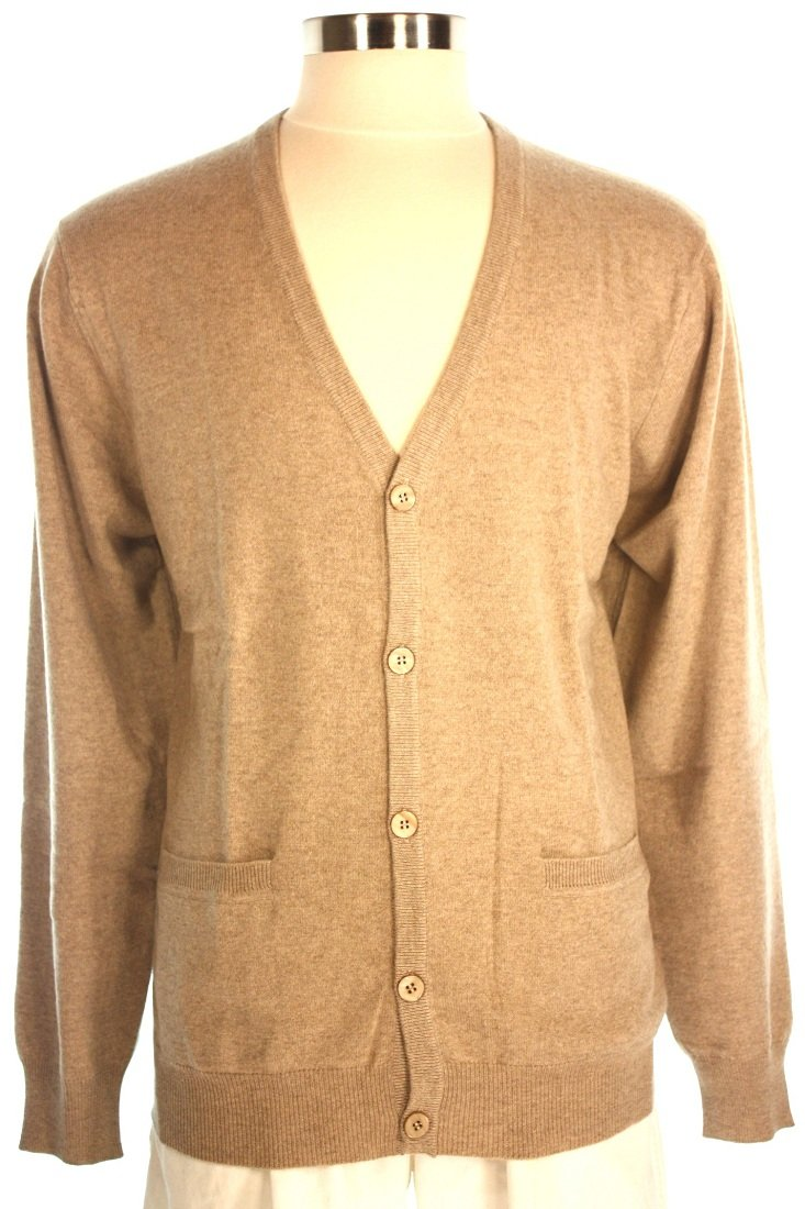 Shephe Men's Cardigan Button Closure Cashmere Sweater Beige Extra Large