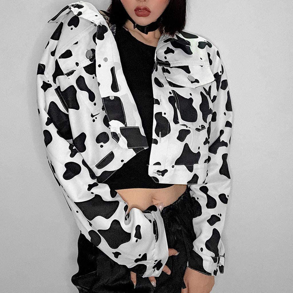 Armfre Tops Womens Cropped Trucker Jacket Cow Print Long Sleeve Denim Jackets Button Down Lapel Collar Short Coat Pockets Jeans Outerwear Chic