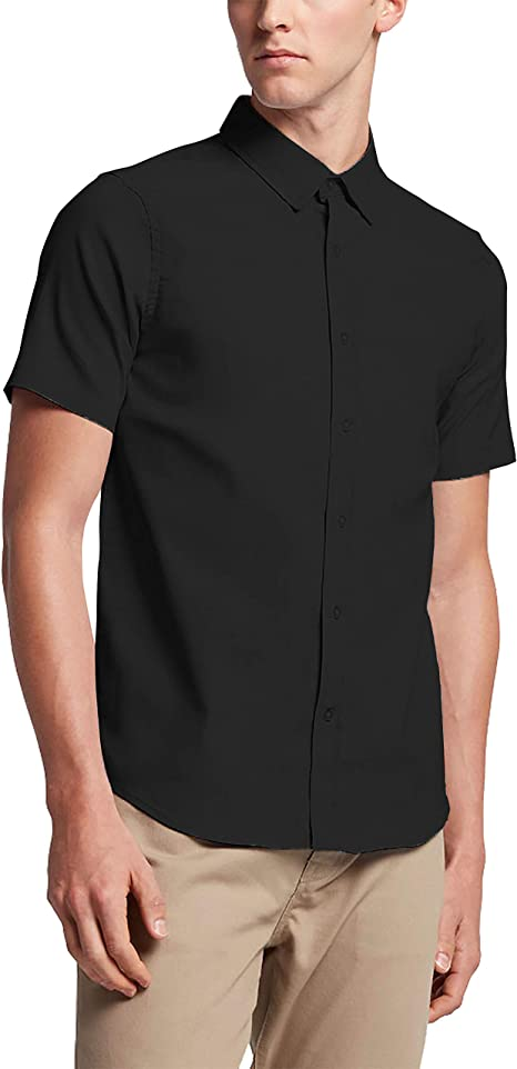 Mens Standard-Fit Button Down Short Sleeve Casual Shirts