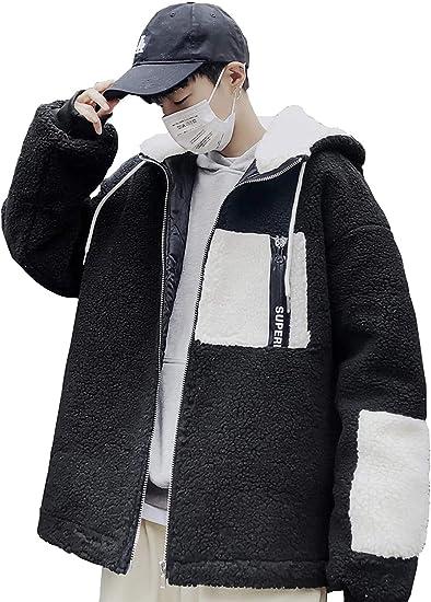ボアコート メンズ フリースジャケット ジャンパー ジャケット ボアジャケット アウター もこもこ フード付き 暖かい 冬服 パーカー 防寒 厚手 韓国風 おしゃれ