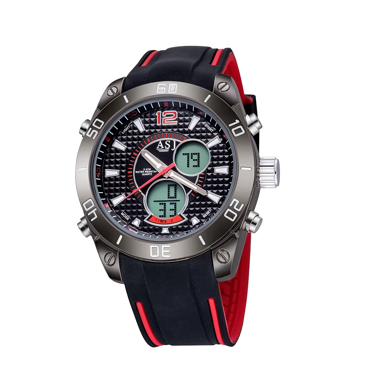 TAWURS Multi Function Digital LED Quartz Watch Electronic Waterproof Sport Watches (Red)