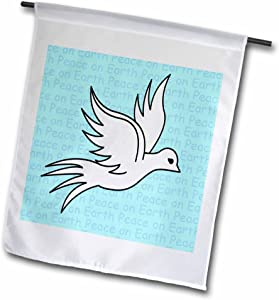 3dRose fl_10858_1 Peace on Earth White Dove Print Blue Garden Flag, 12 by 18-Inch