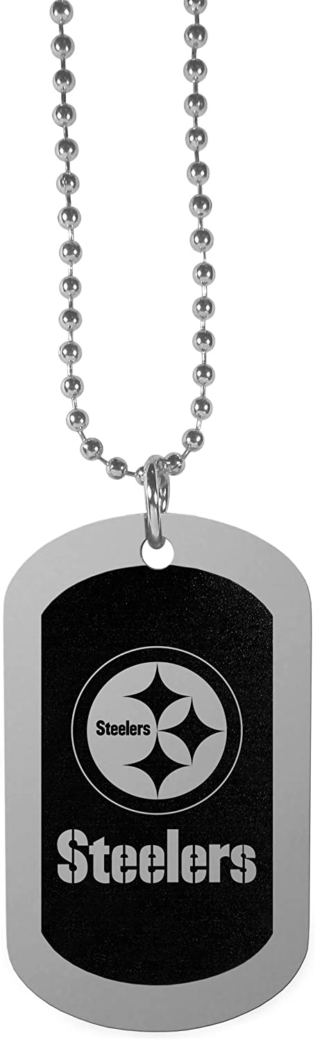 NFL Siskiyou Sports Fan Shop Pittsburgh Steelers Chrome Tag Necklace 26 inch Black