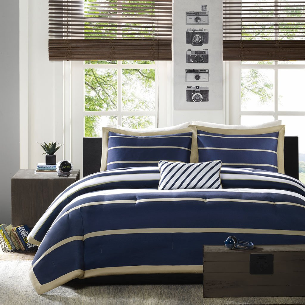 Mi Zone - Ashton - Comforter Set - Navy - Full/Queen - Striped Pattern - Includes 1 Comforter, 1 Decorative Pillow, 2 Shams