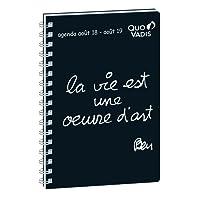 Quo Vadis Ben UNIVERSITAIRE Spiralé Agenda scolaire Semainier 10x15cm Noir Année 2018-2019