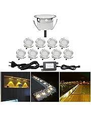 10x Spots LED Eclairage,Encastrable Extérieur IP67 Acier inoxydable - Spots à Encastrer pour Terrasse Bois Plafond 0,6W DC12V lumière Blanc Chaud Spot LED Lampe Extérieur[Classe énergétique A]