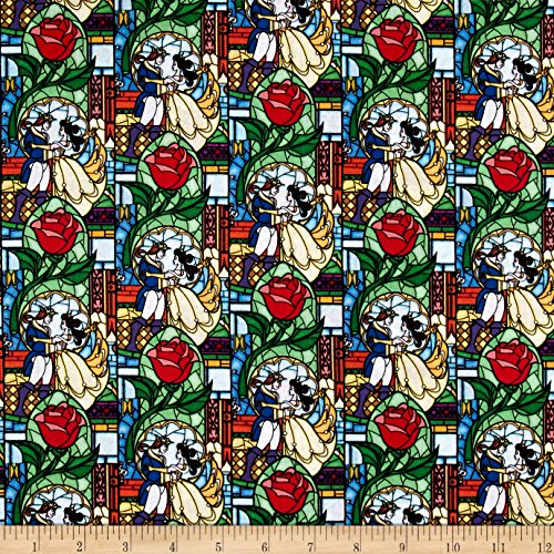 (Springs Creative Products Disney Beauty and The Beast Stained Glass Multi Fabric by The Yard, Multicolor )