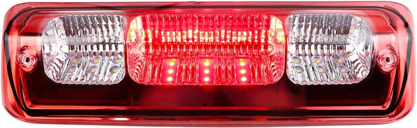 Rear Roof Center LED 3rd Brake Cargo Light Assembly for 04-08 Ford F-150,07-10 Ford Explorer Sport Trac,06-08 Lincoln Mark LT Youxmoto High Mount Stop Tail Cargo Light Chrome Housing Red Lens