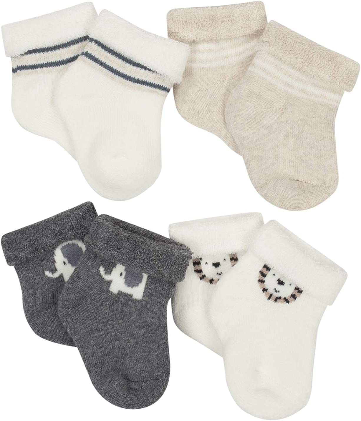 4-Pack Organic Cotton Ankle Bootie Sock Gerber Baby Girl 0-6 Months Wiggle Proof Stay On