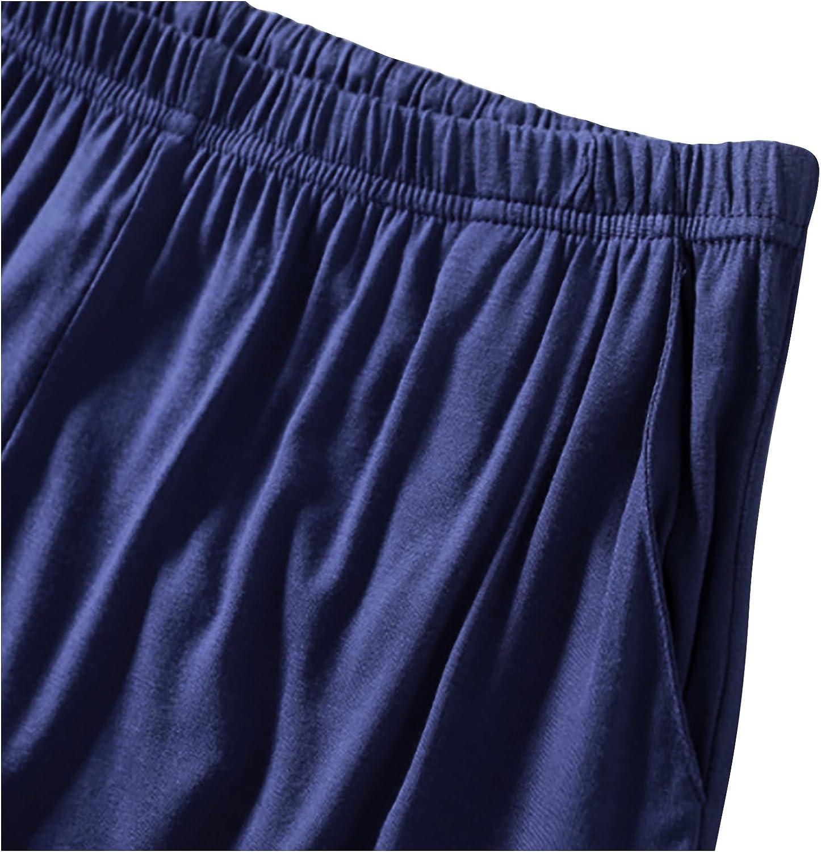 Pantalones Boxeador Cortos Trunk Shorts Ropa de Dormir Cintura el/ástica Ajustable y Bolsillos para Dormir Tiempo Libre Dolamen Hombre Pantalones de Pijama Algod/ón Modal