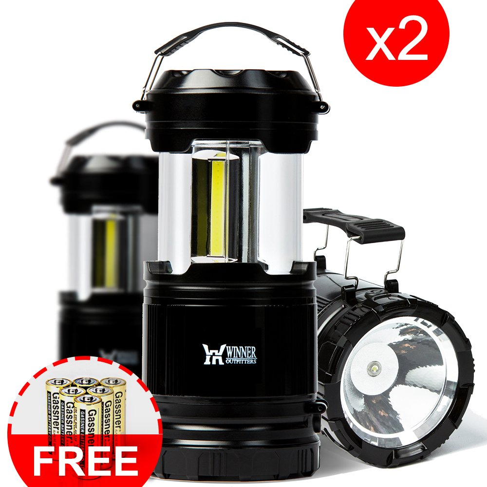 WINNER OUTFITTERS 2 Pack Portable Outdoor LED Camping Lantern with Flashlight (Included 6 AA Batteries)
