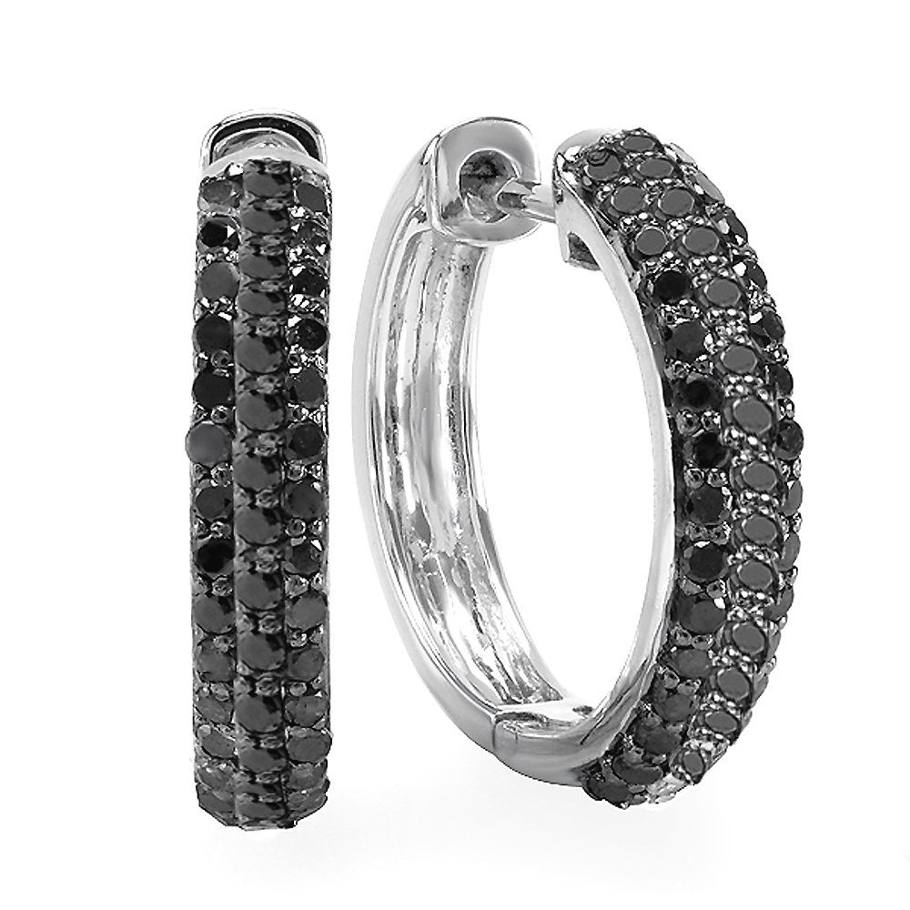 0.65 Carat (ctw) Sterling Silver Black Round Diamond Huggie Hoop Earrings