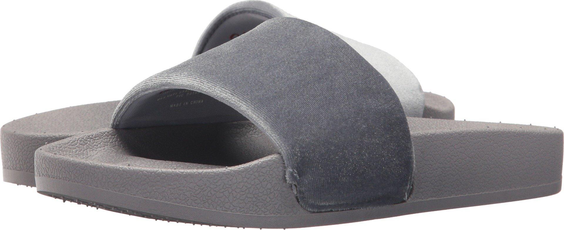 Chooka Women's Slide Sandal with Molded Footbed and Plush Velvet Upper, Velvet Grey, 6 M US