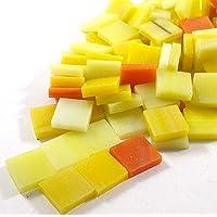 Sai Mosaic Art Stain Glass Mosaic Pcs, Orange Yellow Assortment 10x10mm, 100Gm Pack, 145-150 Pcs