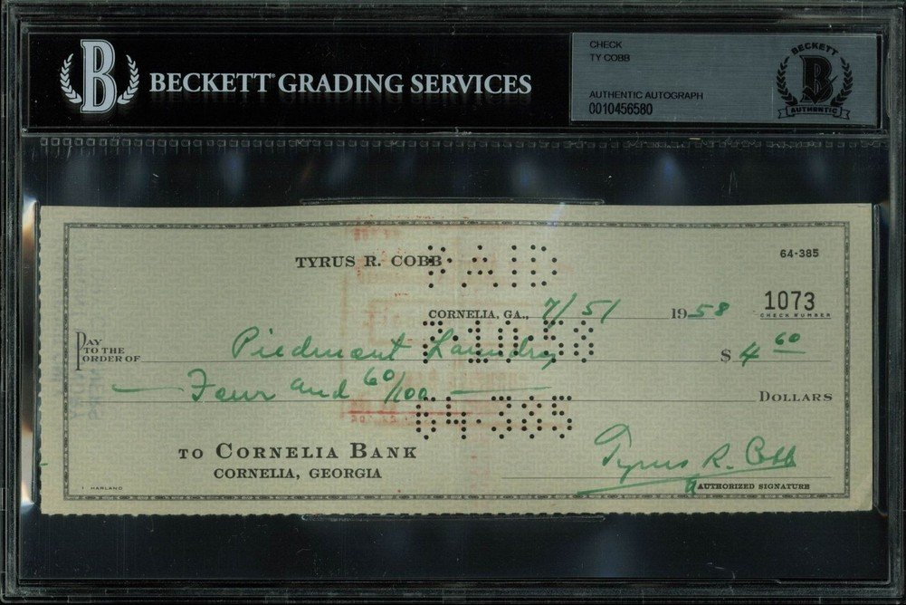 Tigers Ty Cobb Certified Signed Autographed 3X8.25 Check Dated 7/5/1958 Bas Slabbed Certified Certified