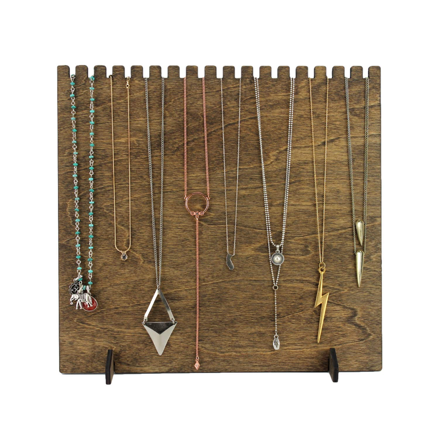 Wide Necklace Display High Capacity Birch Wood Jewelry Display 10.5 x 11 Wide Retail Display, Boutique, High Capacity, Fully Collapsible