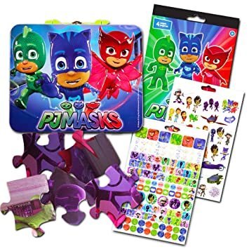 PJ Masks Activity Box Set -- Deluxe Tin Lunch Box, Over 200 Stickers and
