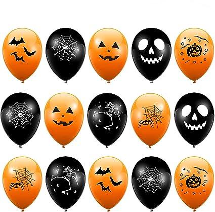 The Twiddlers 100 Ballons De Baudruche D Halloween En Latex Orange Et Noir Décoration Halloween Parfaite Pour Les Fêtes Haute Qualité