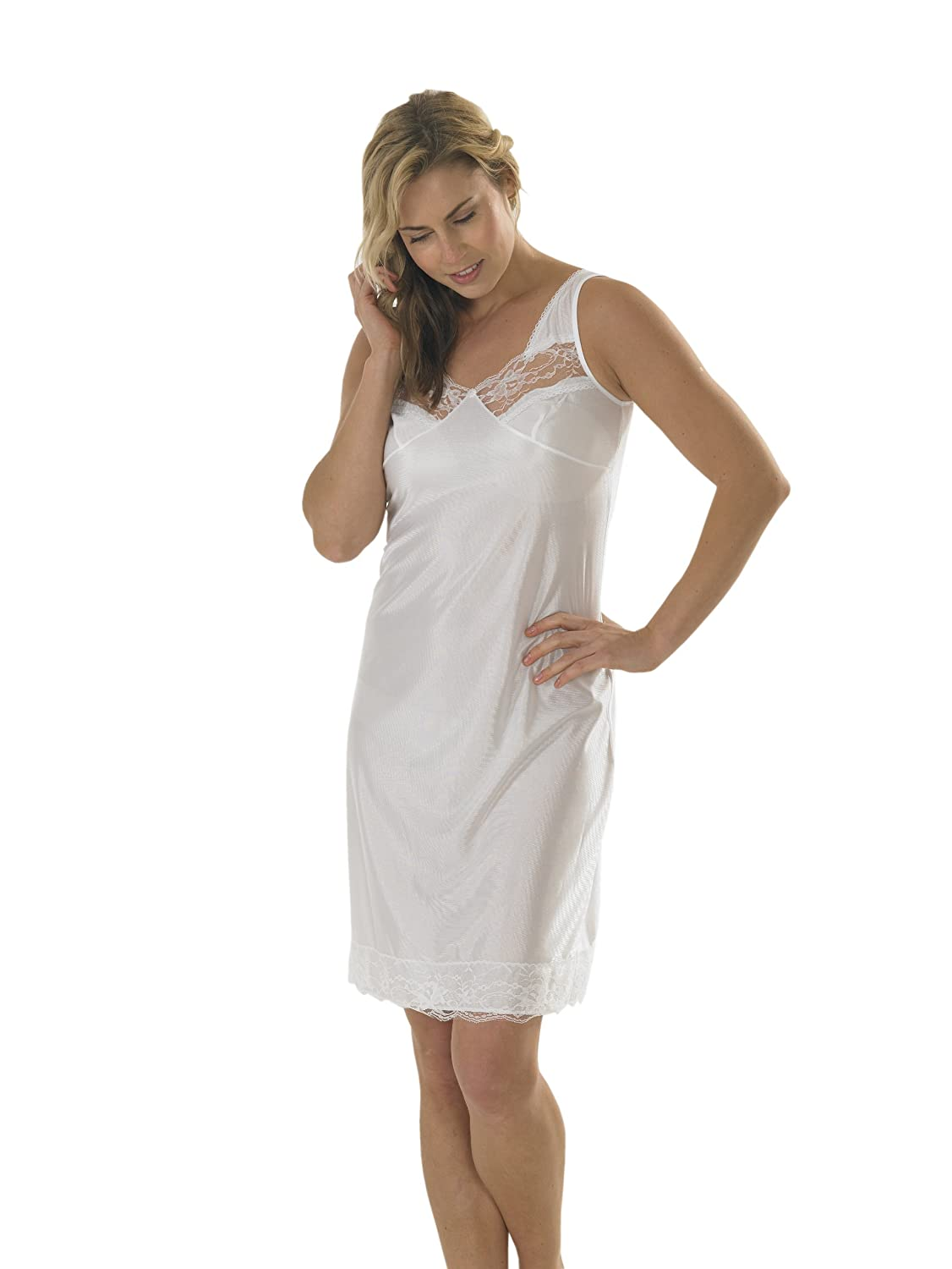 Womens/Ladies Anti Static Full Slip Underskirt Built Up Shoulder With Front & Bottom Lace, White 14