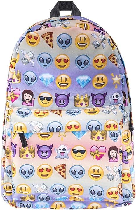 Sacs à Dos Enfants Emoji, Gracosy Sac Sports Cartable Imperméable Solide Super Léger 35L Design Smiley Kawaii Backpack idéal pour Filles Garçons École