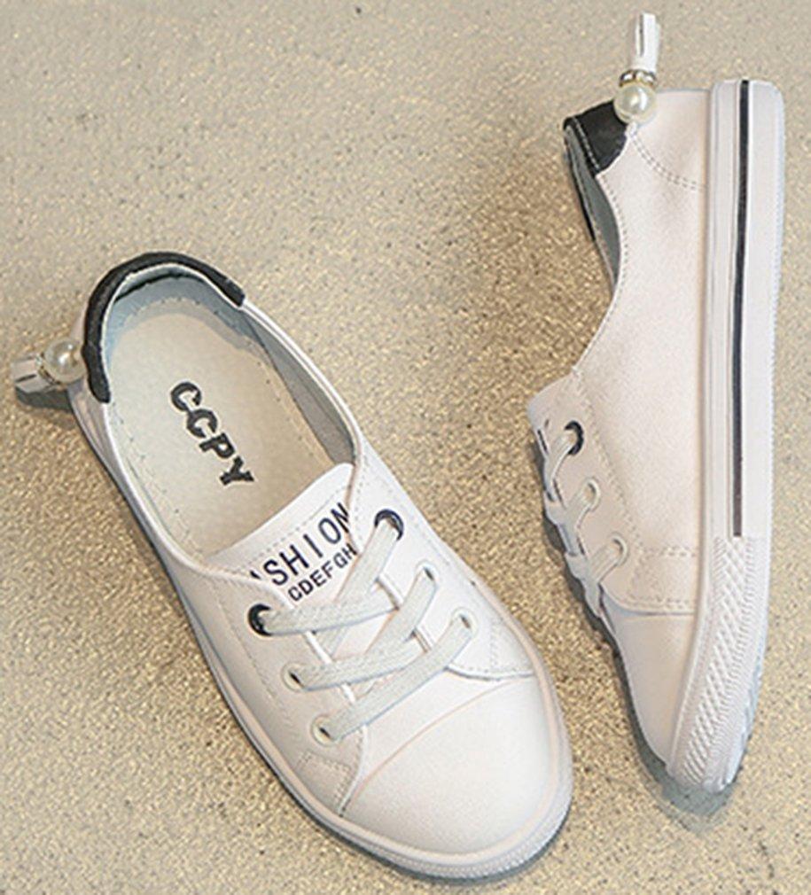 VECJUNIA Girl's Trendy Low Top Round Toe Elastic Casual Flat Shoes Walking (Black, 2.5 M US Little Kid) by VECJUNIA (Image #6)