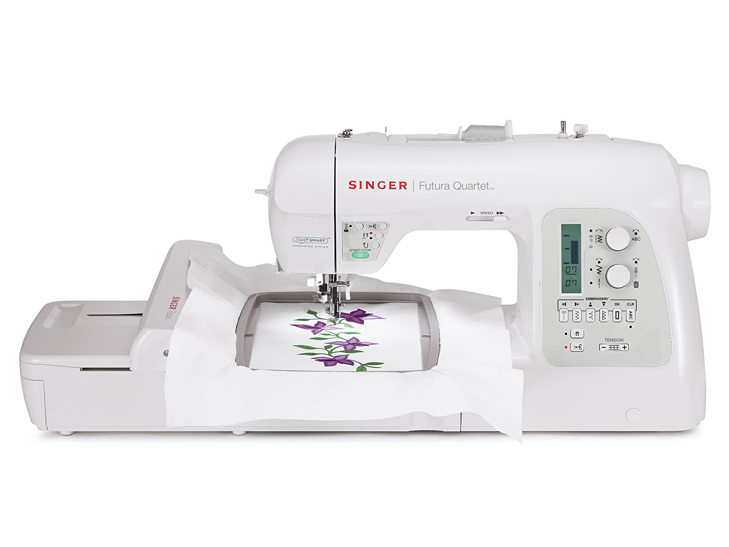 SINGER 4-in-1 Futura Quartet Portable Sewing, Embroidery, Quilting and Serging Machine with Bonus Accessories SEQS-6700
