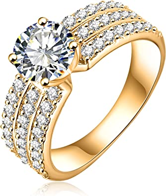 Bishilin Silver Plated Cubic Zirconia Inlaid Wedding Ring Engagment Band Bridal Set Size 6