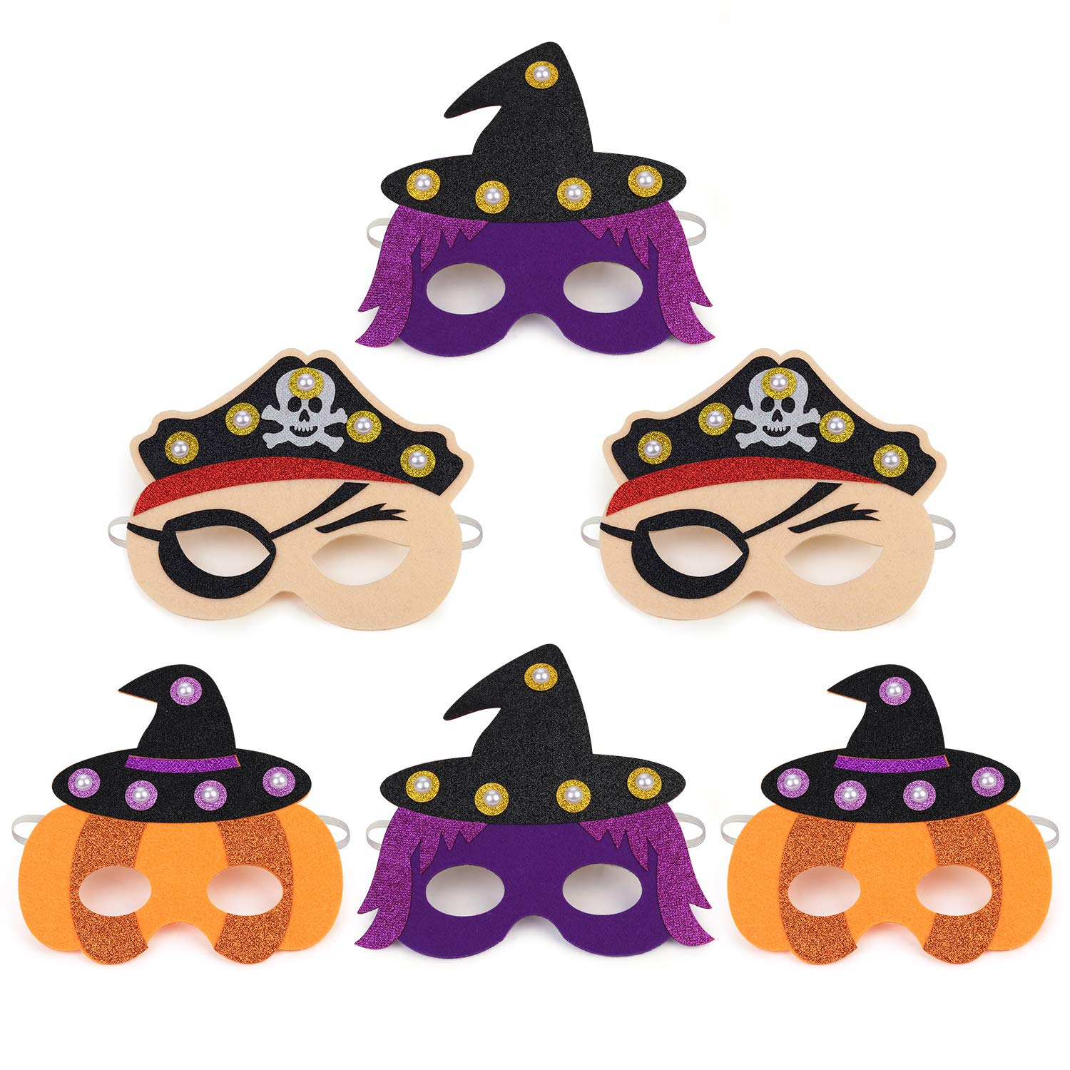 LED Halloween Masks for Kids,Aniwon 6PCS Pumpkin Pirate Witch Felt Cosplay Mask Childen Masquerade Mask Dress Up Costume Accessory for Party Favors Supplies