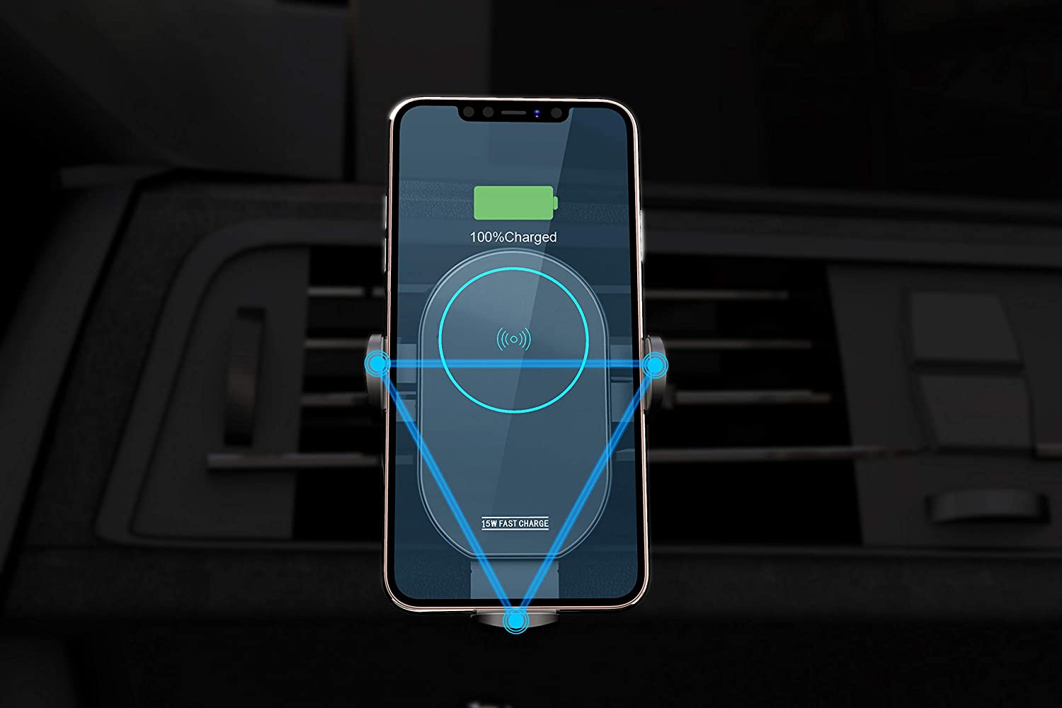 Wireless car Charger Mount Wireless Fast Charger Phone HolderCharging Auto-Clamping Car Mount