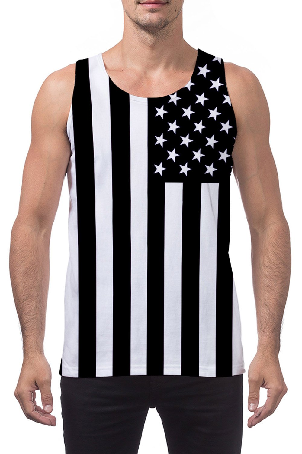 Leapparel Men and Boys 3D Pattern USA Flag Tank Top Black&White Vest Sleeveless Tees T-Shirts for Dad Work Sport S