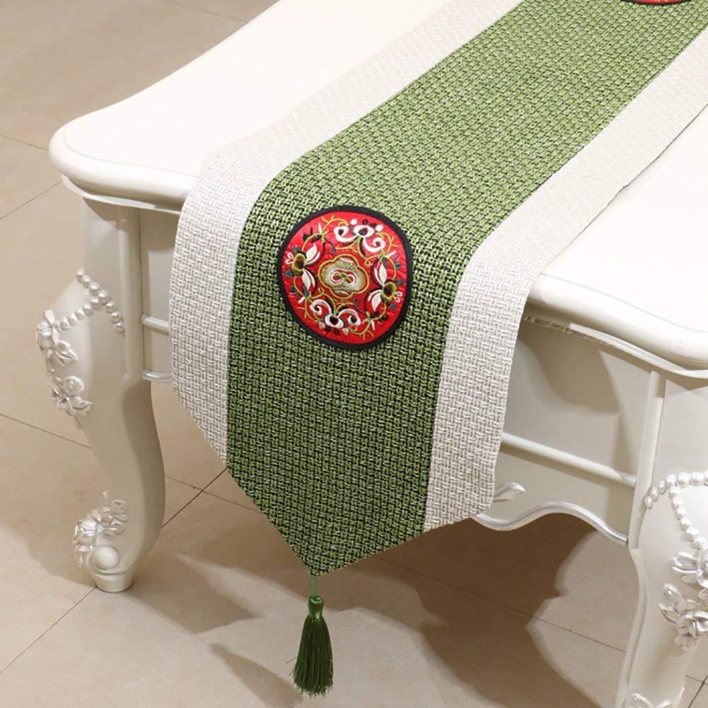 JJD 手刺繍テーブルランナーコートスタイルタイリネングリーンテーブルランナーホテルベッドサイドタオルパーティー(利用可能150-300 * 30 cm) (サイズ : 30*300cm) 30*300cm  B07RKSXBCV