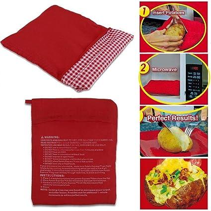 Sunsbell Bolsas Microondas, Bolsa de Papa al Horno con Microondas, Color Rojo Bolsa Patatas Microondas Lavable, Papa al Horno, Cocinar Microondas, ...