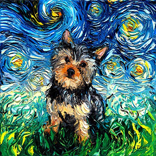 Starry Night Yorkie Art Yorkshire Terrier Dog Art by Aja choose size and type of paper Wall decor ()