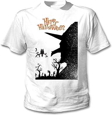 teesquare1st Halloween Witch Camiseta Blanca para Hombre de Algodon: Amazon.es: Ropa y accesorios