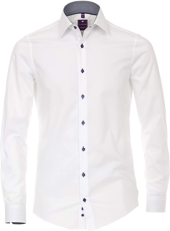 Redmond - Camisa Popelina para Hombre, Color Liso, Corte Ajustado, 100% algodón