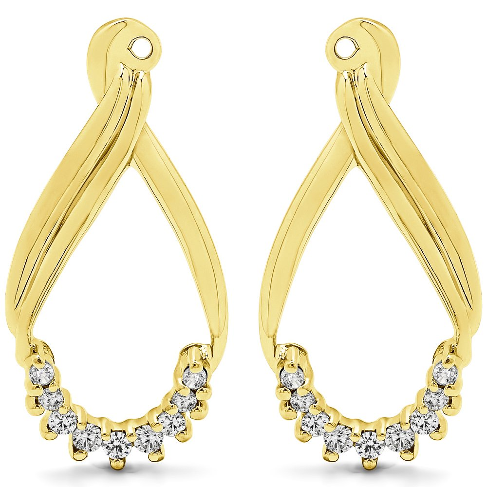 TwoBirch 1/5 ct. Cubic Zirconia Dangle Earring Jackets in Yellow Plated Sterling Silver (0.21 ct. twt.)