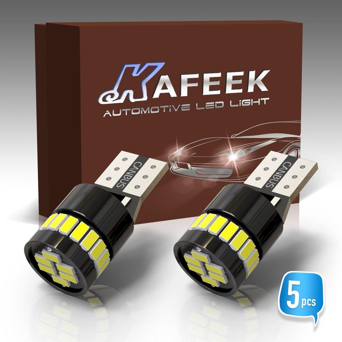 KAFEEK 5x Canbus T10 Wedge 194 168 2825 W5W LED Bulbs,Xenon Withe