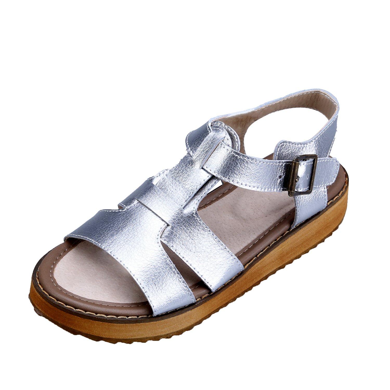 Smilun Women's Platform Flip Flops Thongs Sandals Peep Toe Flat Sandals Upper Cross Strap Open Toe Thong Wedge Sandals Silver US9