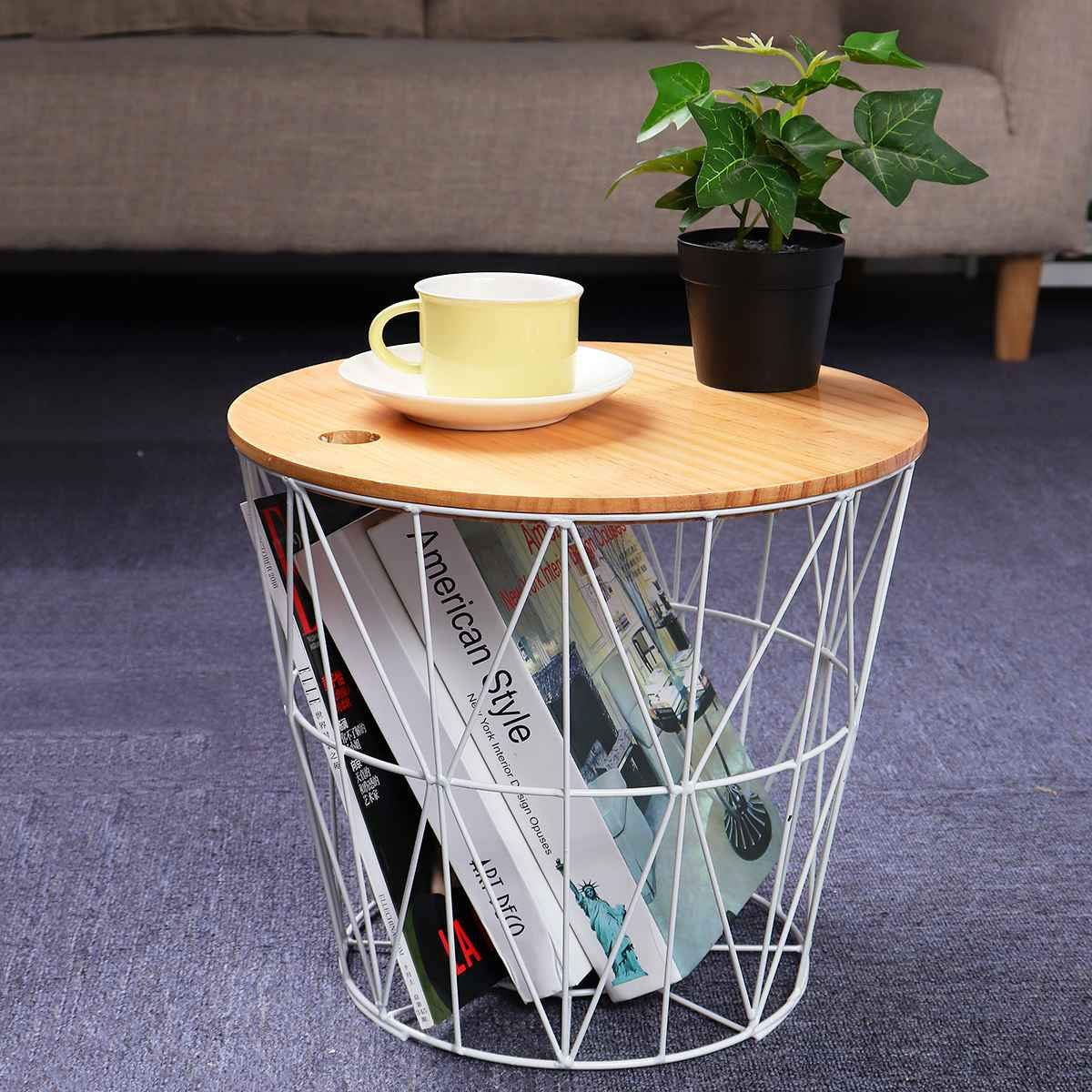 Indian Decor 302500 Coffee Table With Storage Wire Basket With Wooden Top White Amazon In Home Kitchen