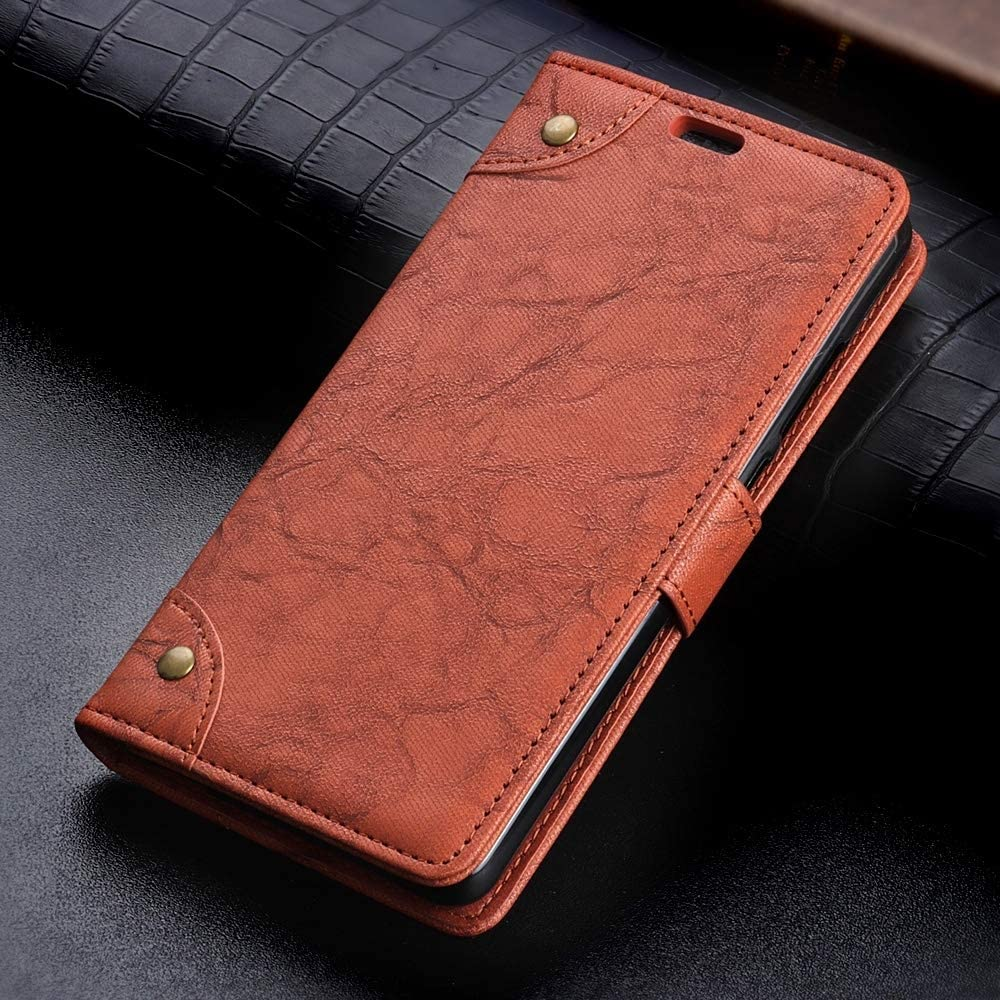 ZHENGYIXIA CASES para Fundas y Cubiertas de iPhone con Soporte y Ranuras para Tarjetas y Billetera, Funda de Cuero con Interruptor Retro y Textura Retro de Textura de Caballo enferma para iPhone X/XS