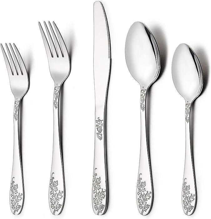 LIANYU 60-Piece Silverware Flatware Cutlery Set for 12, Stainless Steel Kitchen Restaurant Party Tableware Eating Utensil Sets, Vine Pattern, Mirror Finish, Dishwasher Safe