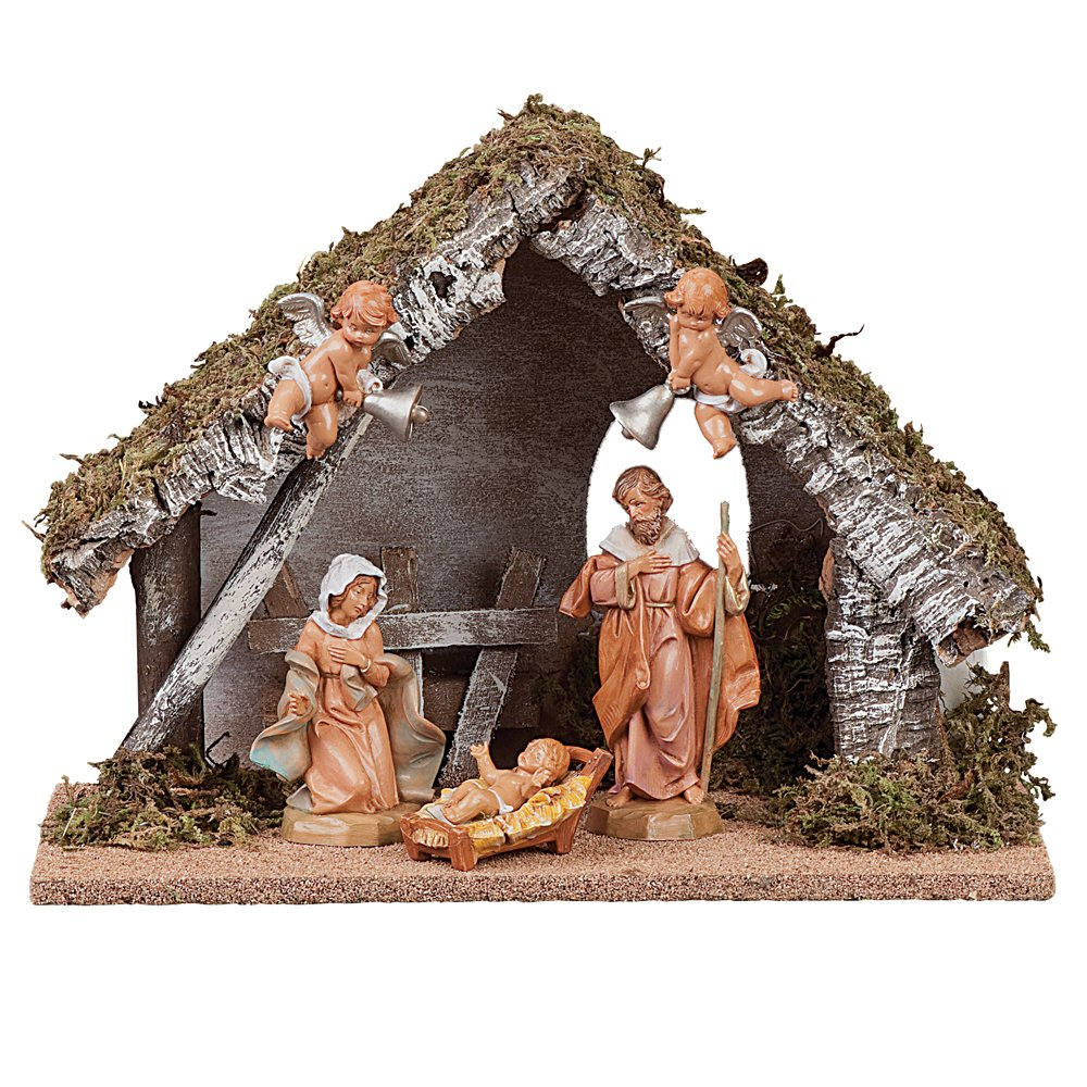 Fontanini Wedding Gift Musical Nativity 5-Inch Figure Set with 10-Inch Italian Stable, Silent Night by Fontanini